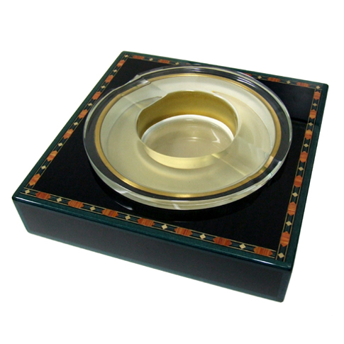 Elie Bleu Alba Black Medal Crystal Ashtray - SALE