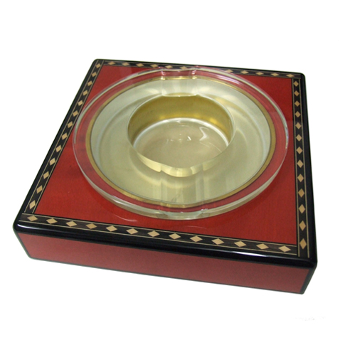 Elie Bleu Medals Red Crystal Ashtray - SALE