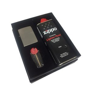 Zippo 205 Satin Chrome Lighter Gift Pack