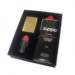 Zippo 204 Brushed Brass Gift Set
