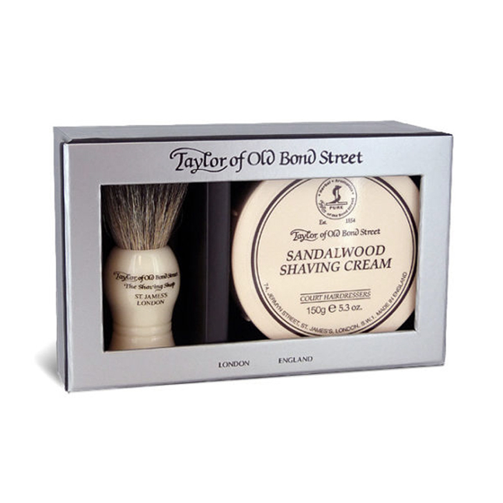 Taylor Sandalwood Cream 150g / Brush Set