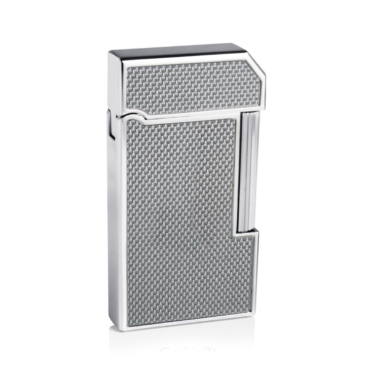 Caseti CA59-8 Chrome Plated / Silver Carbon Fibre Soft Flame Lighter
