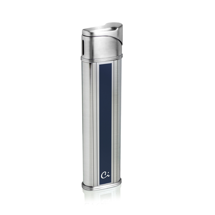 Caseti CA65B-5 Chrome / Blue Lacquer Soft Flame Lighter